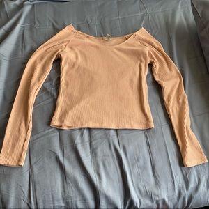 Pink Ribbed Long Sleeve Crop Top
